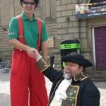 stilt walking in Doncaster market